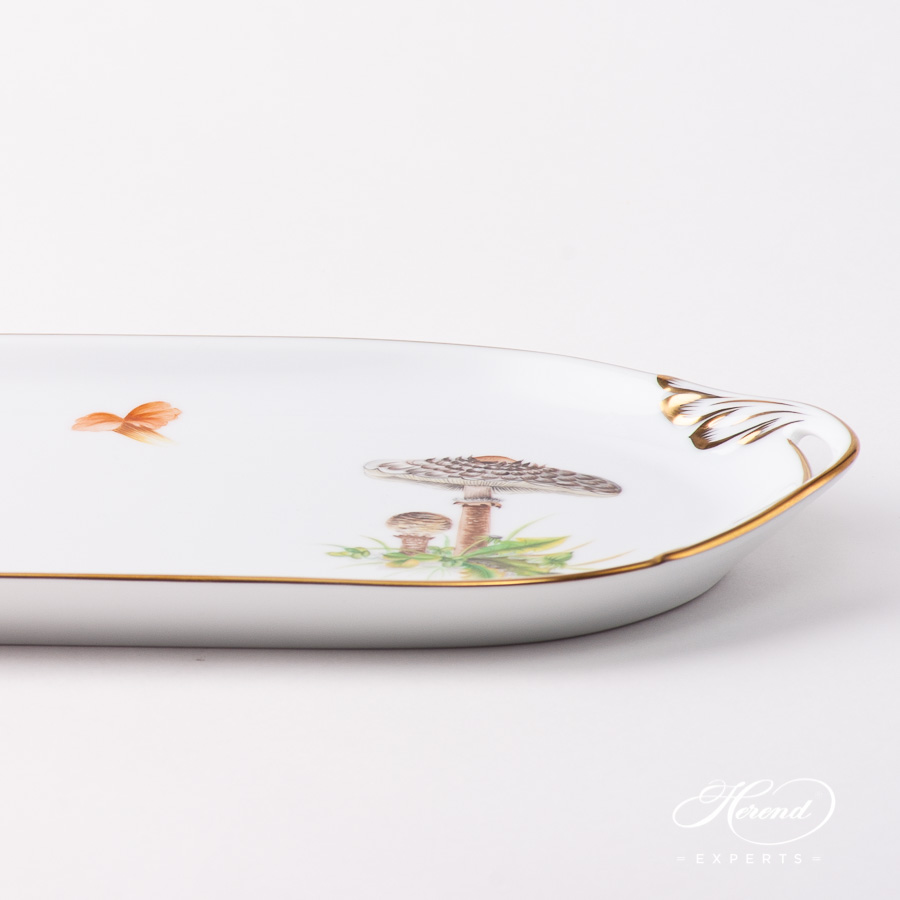 Sandwich Dish 2436-0-00 CHMP-OR Forest Mushroom design. Herend fine china