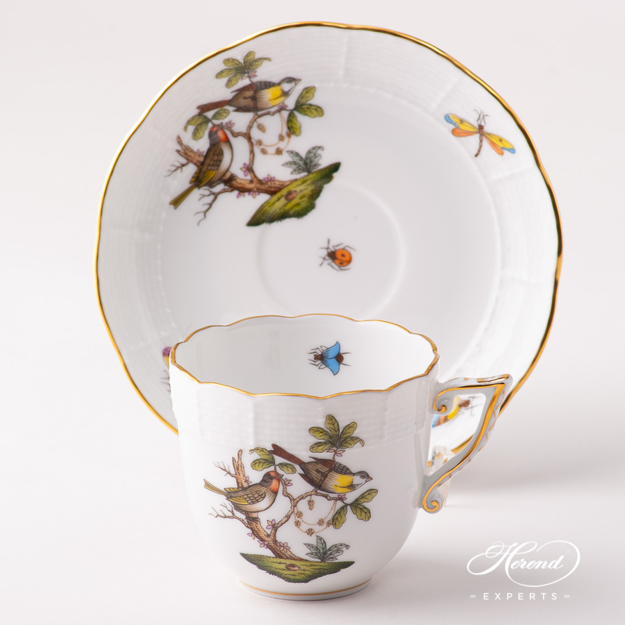 Coffee Cup w. Saucer 706-0-00 RO Rothschild Bird Natural design. Herend porcelain