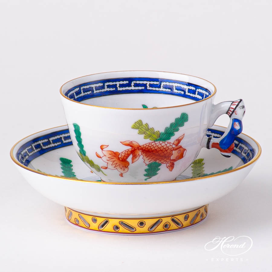 Coffee / Espresso Cup with Saucer 3371-0-21 PO Fishes design. Herend fine china