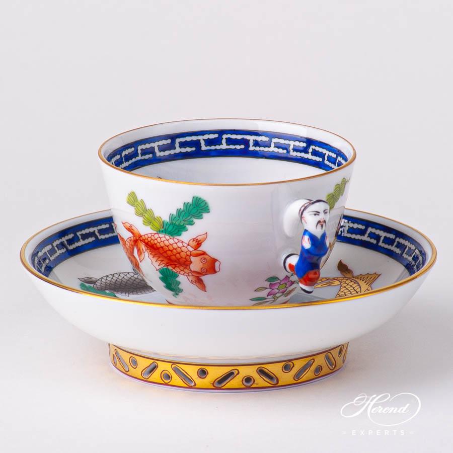 Coffee / EspressoCupwith Saucer 3371-0-21 PO Fishes design. Herend fine china