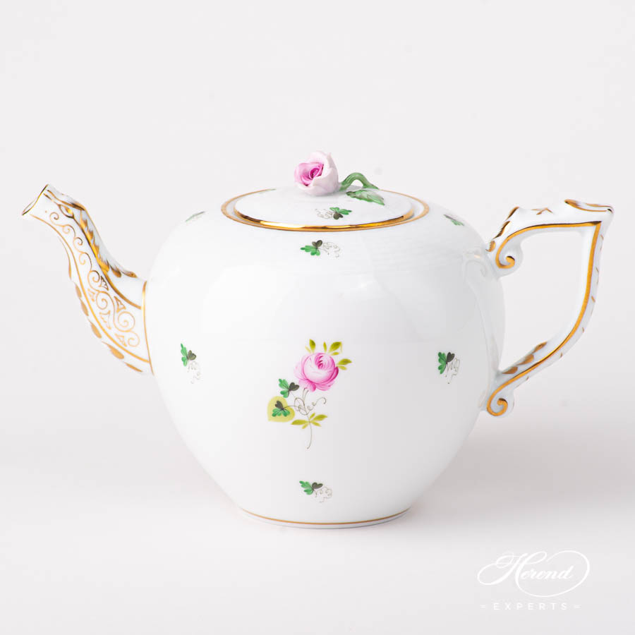 Tea Pot with Rose Knob 606-0-09 VRHS Vienna / Viennese Rose Gold pattern. Herend fine china