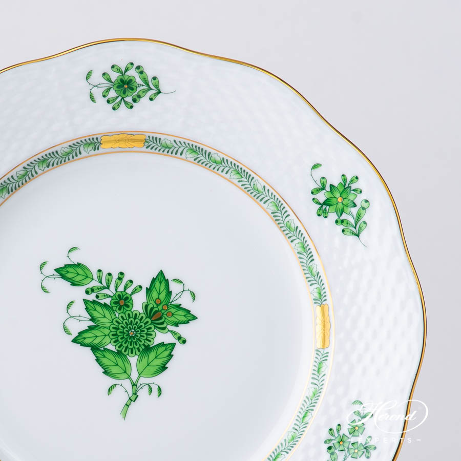 Dessert Plate 520-0-00 AV Chinese Bouquet / Apponyi Green pattern. Herend fine china