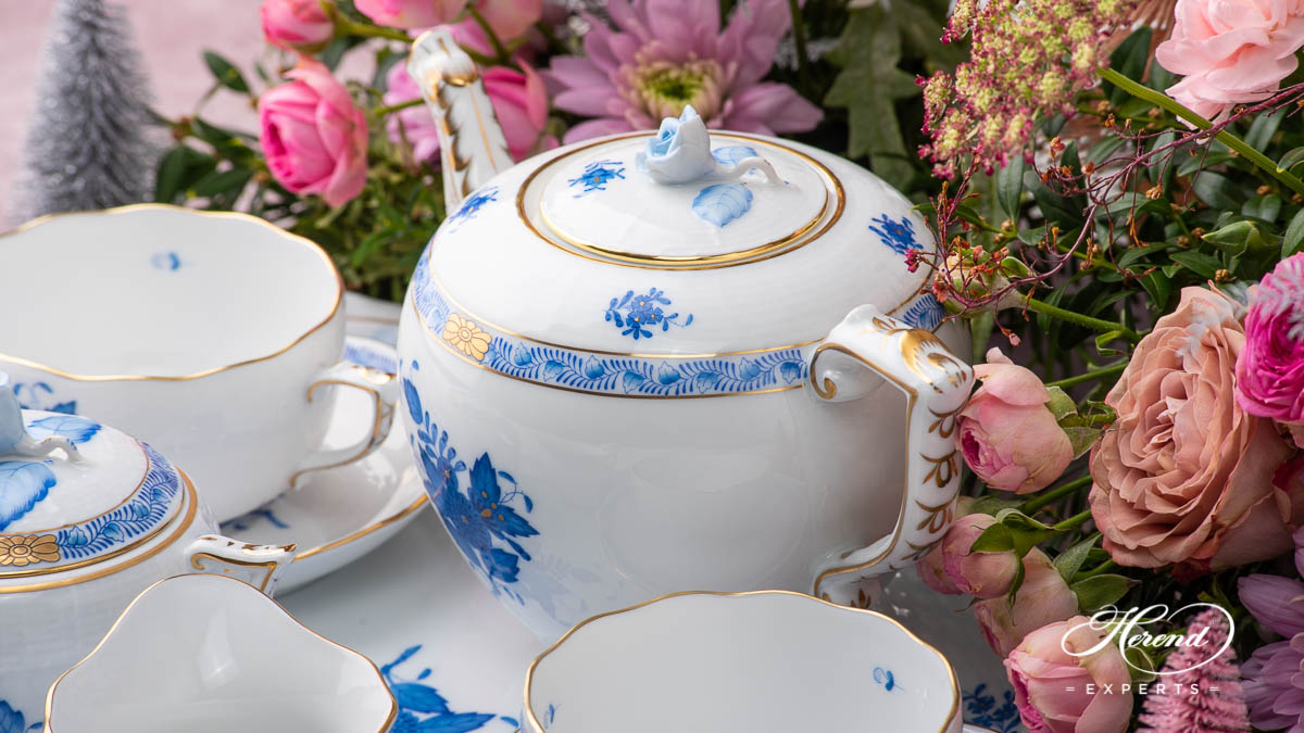 Tea Set for Two People - Herend Chinese Bouquet / Apponyi Blue - ABpattern. Herend porcelain