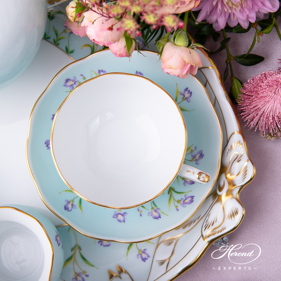 Herend Iris turquoise teacup with platter.
