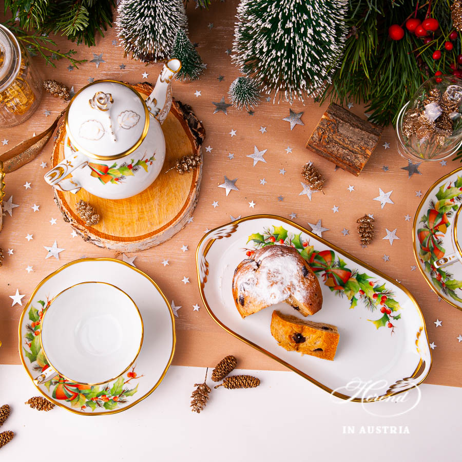 Coffee / Espresso Set for 2 Person - Herend Christmas - NOELpattern. Herend fine china
