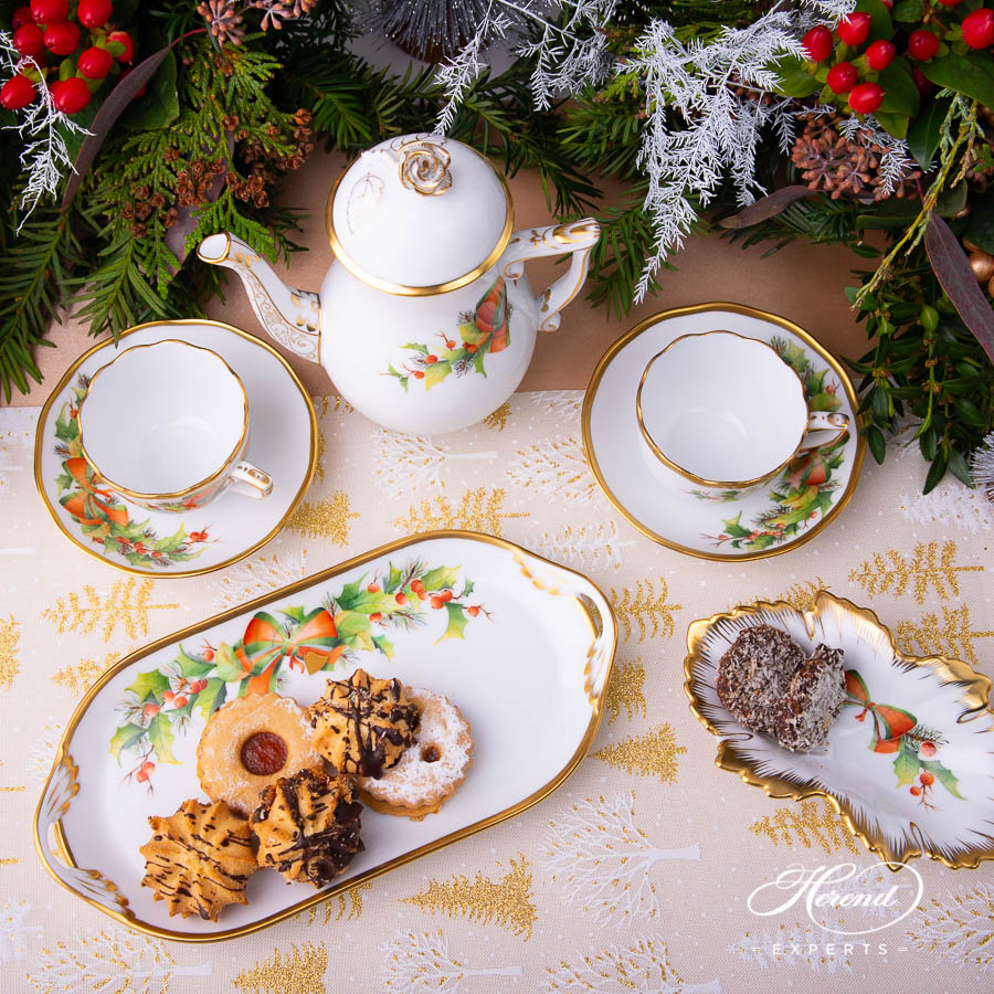Coffee / Espresso Set for 2 Person - Herend Christmas - NOEL pattern. Herend fine china
