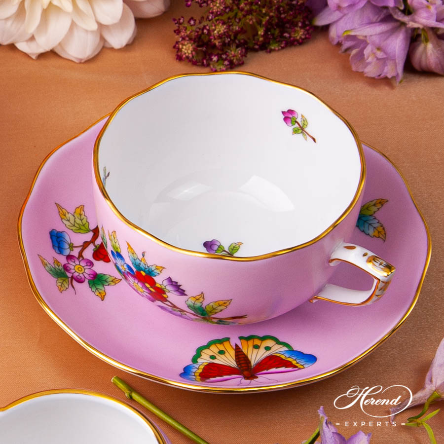 Tea Set for 2 Person - Herend Queen Victoria on Pink Background - VE-FP1 pattern. Herend fine china