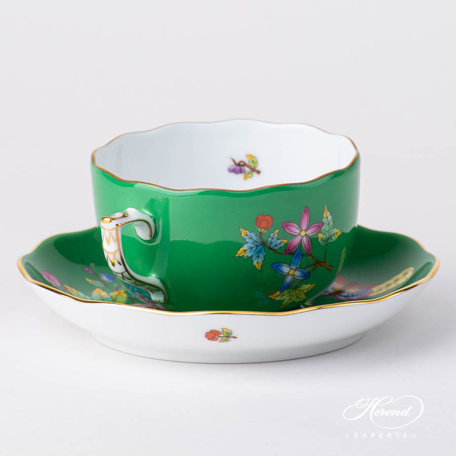 TeaCupwith Saucer 20724 VE-FV Queen Victoria VBO design on Green Background. Herend fine china