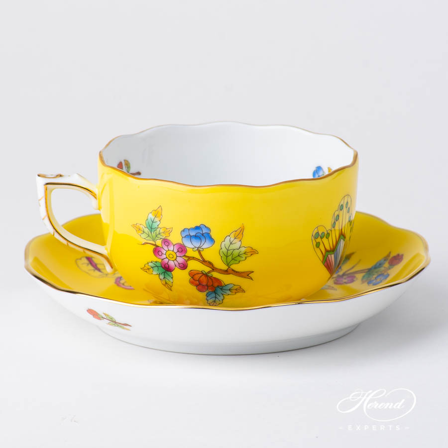 TeaCupwith Saucer 20724 VE-FJ Queen Victoria VBO design on Yellow Background. Herend fine china
