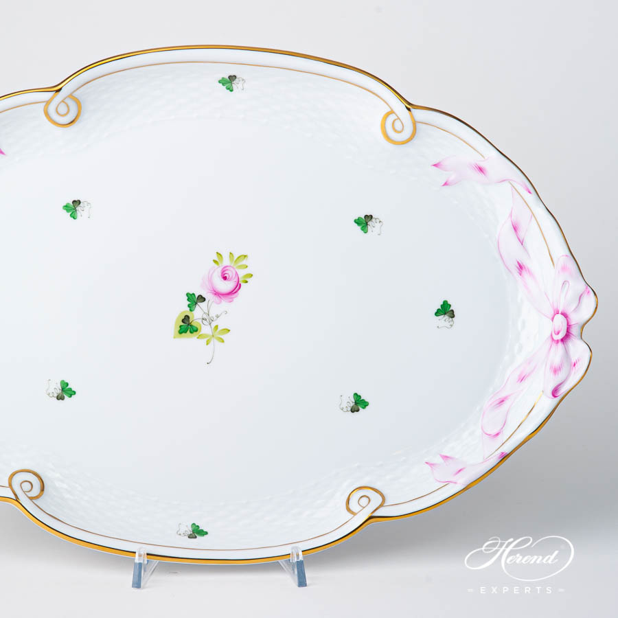 Tray w. Ribbon 400-0-00 VRHS Vienna / Viennese Rose Gold pattern. Herend fine china