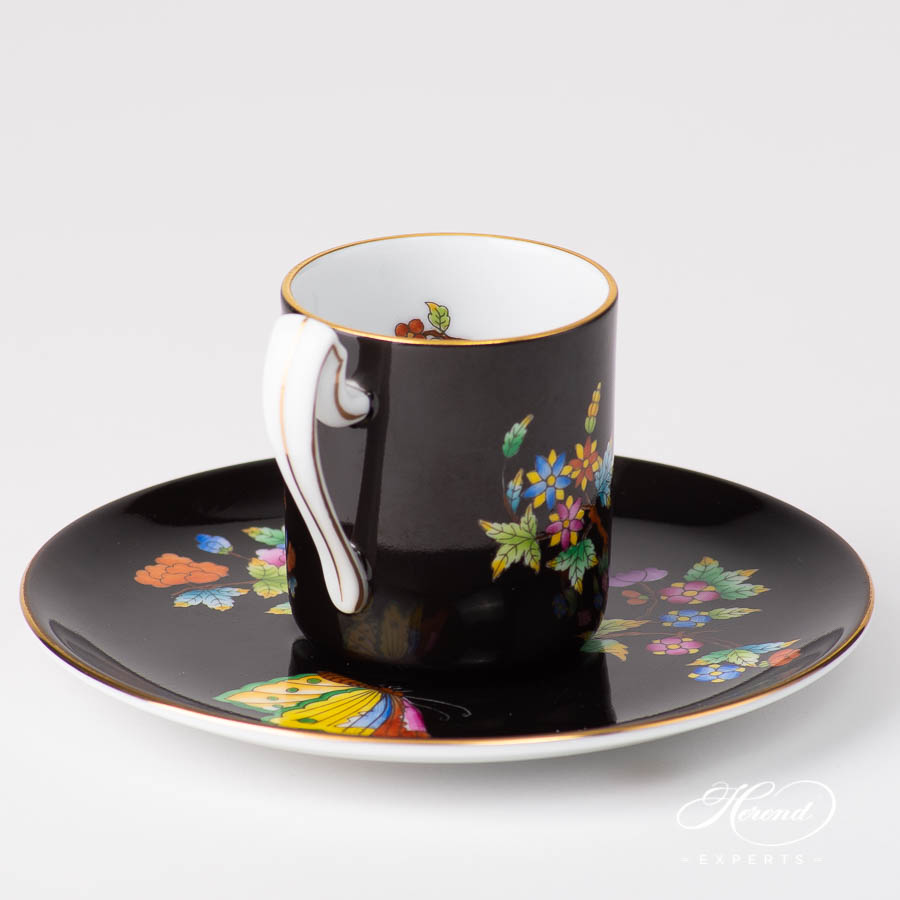 Coffee / EspressoCup 2761-0-00 VE-FN Queen Victoria on Black Background pattern. Herend fine china