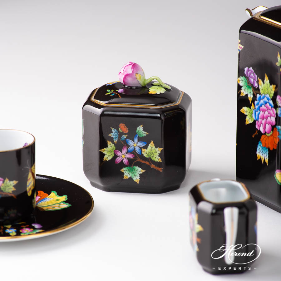 Coffee / Espresso Set for 2 Person - Herend Queen Victoria on Black Background - VE-FN pattern. Herend porcelain