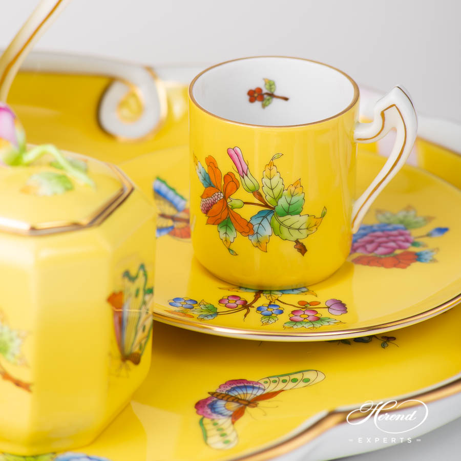 Coffee / Espresso Set for 2 Person - Herend Queen Victoria on Yellow Background - VE-FJ pattern. Herend porcelain
