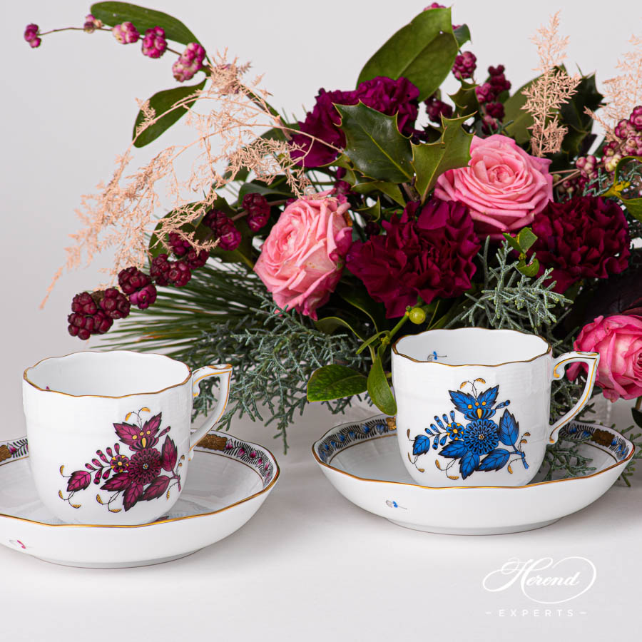 Coffee / Espresso Cup w.Saucer 707-0-00 AP3-X1 Chinese Bouquet / Apponyi Burgundy pattern. Classic design. Herend fine china