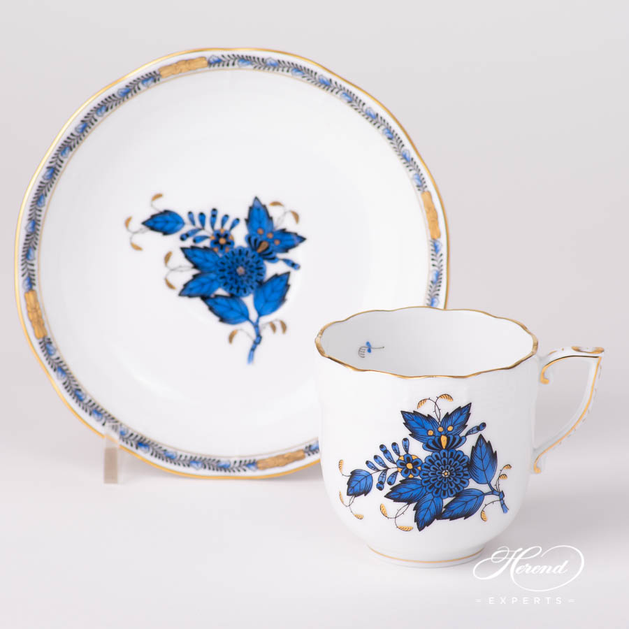 Coffee / Espresso Cup w.Saucer 707-0-00 AB3-X1 Chinese Bouquet / Apponyi Navy Blue pattern. Classic design. Herend fine china