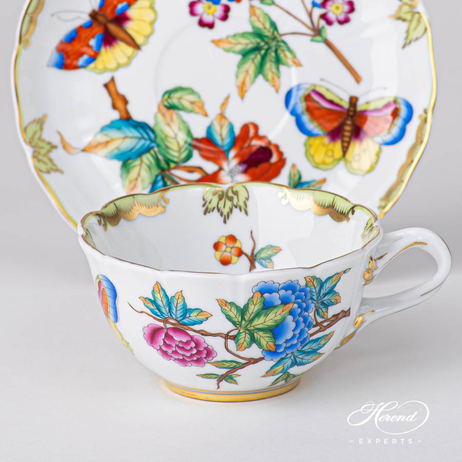 Special Tea Cup w.Saucer4247-0-00 VICTORIA pattern. Special shaped. Herend fine china