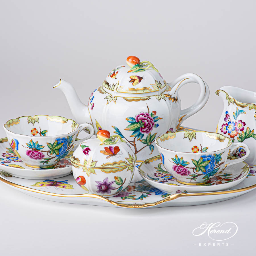 SpecialTea Set for 2 Persons - Herend Old Queen VICTORIAdesign. Herend fine china