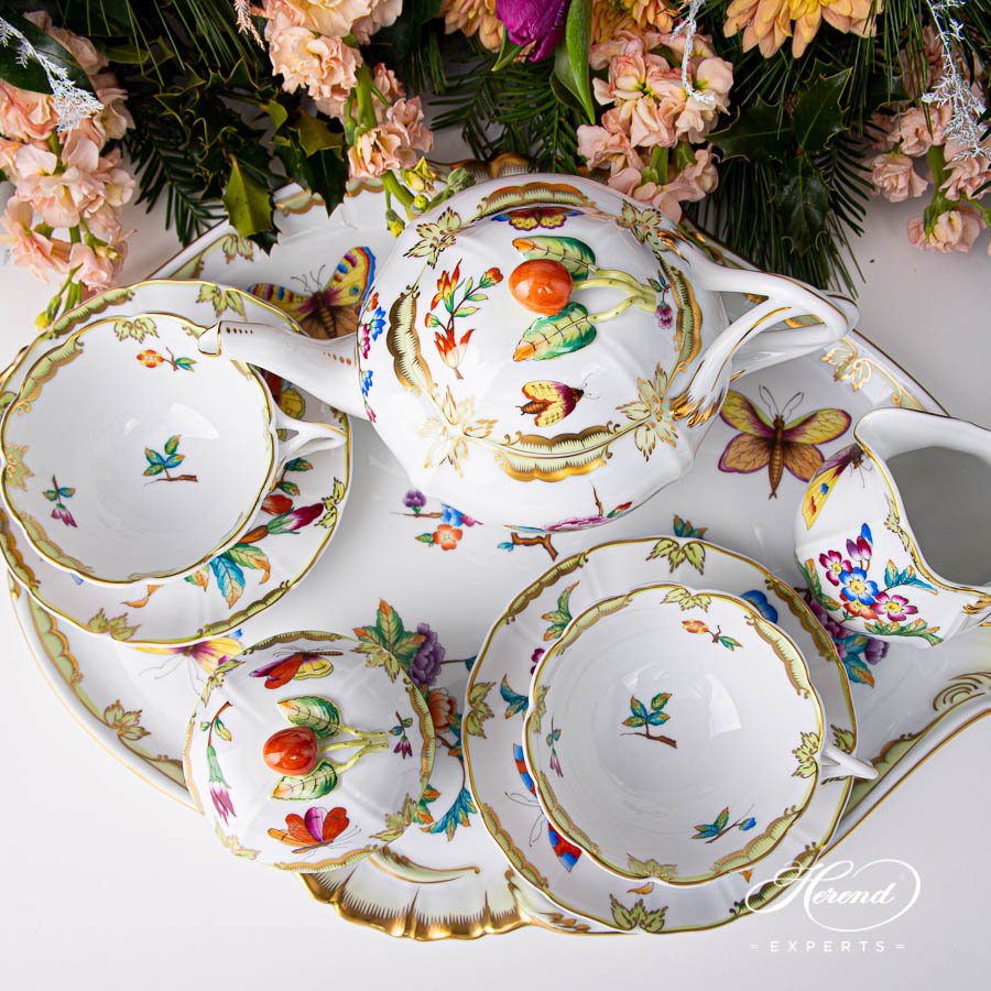 Special Tea Set for 2 Persons - Herend Old Queen VICTORIA design. Herend fine china