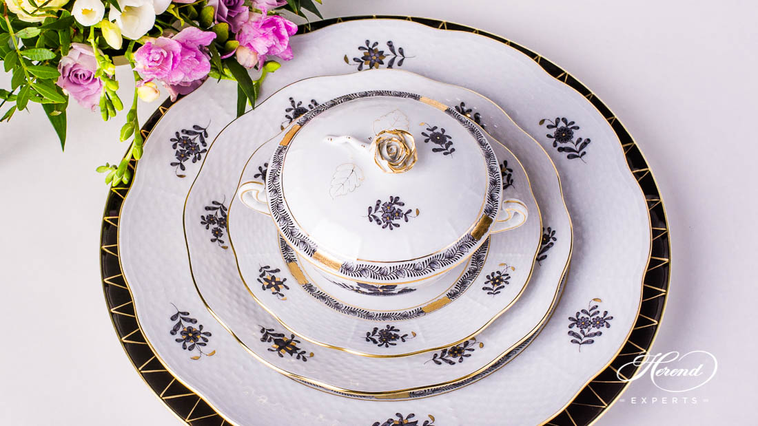 Apponyi place setting with soup cup - Herend porcelain