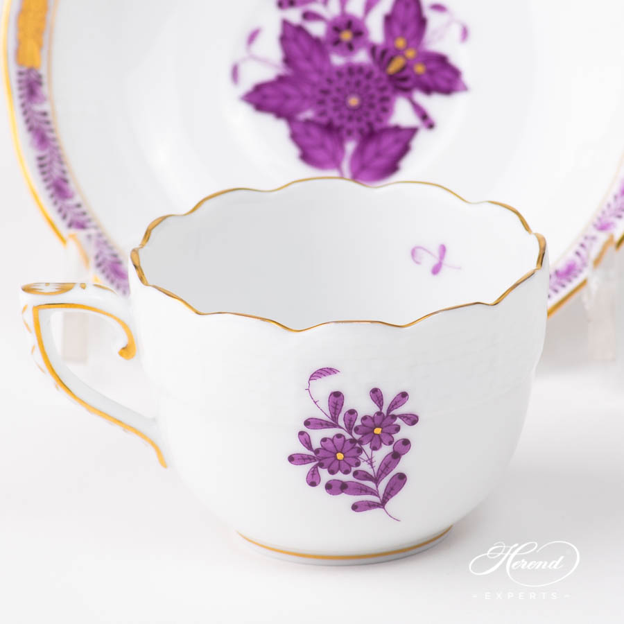 Coffee / Espresso Cup w. Saucer 711-0-00 AL Chinese Bouquet / Apponyi Lilac pattern. Classic design. Herend fine china