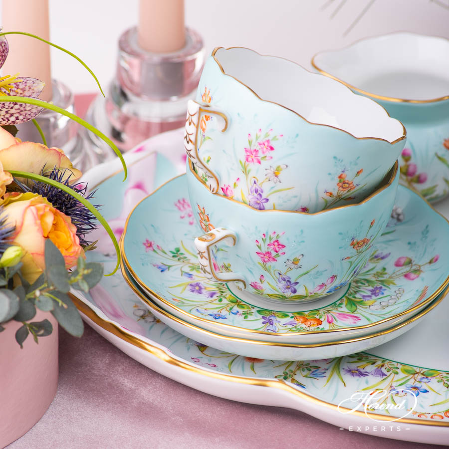 Coffee Set for 2 People - Herend Four Seasons QS pattern. Modern design. Herend porcelain
