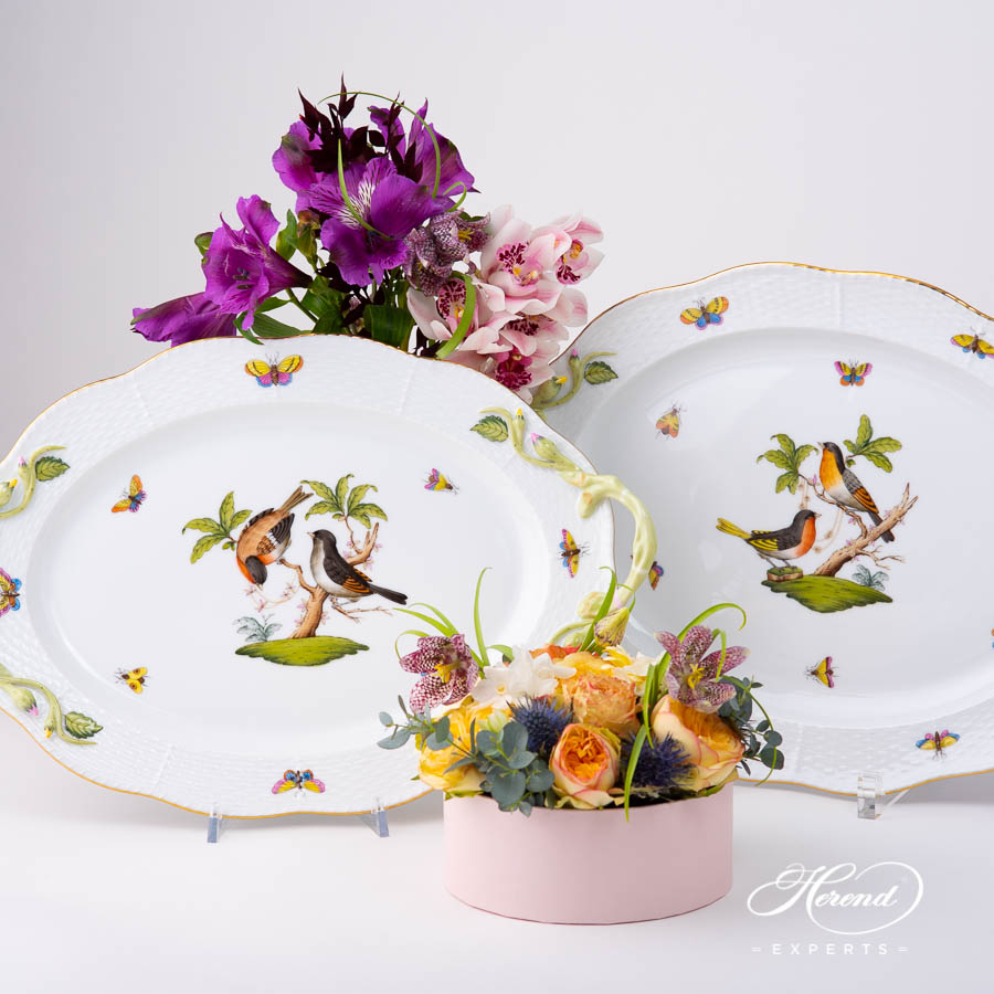 Oval Dish with Handles122-0-00 RO Rothschild Bird pattern. Classic design. Herend porcelain