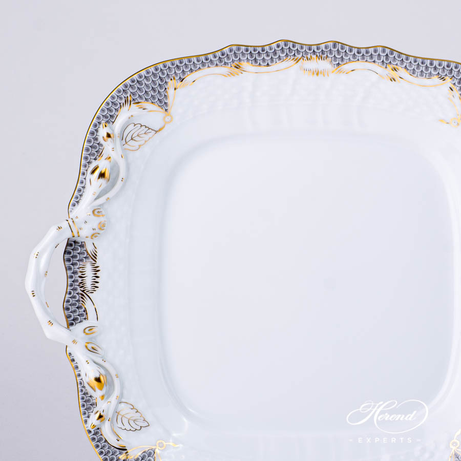 Cake Plate with Handles1430-0-00 A-ETG Grey Fish Scale pattern. Modern design. Herend porcelain