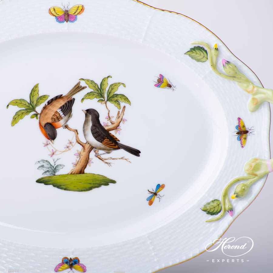 Oval Dish with Handles123-0-00 RO Rothschild Bird pattern. Classic design. Herend porcelain