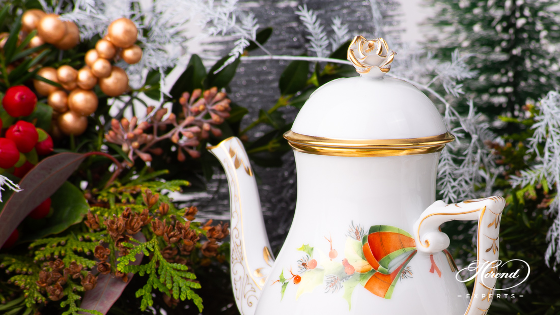 Herend Christmas coffee pot with gilded rose handle.