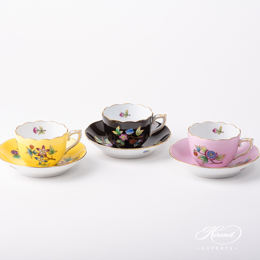 Coffee Cup with Saucer - Herend Queen Victoria on a Yellow, Black and Pink background pattern. Classic design. Herend porcelain