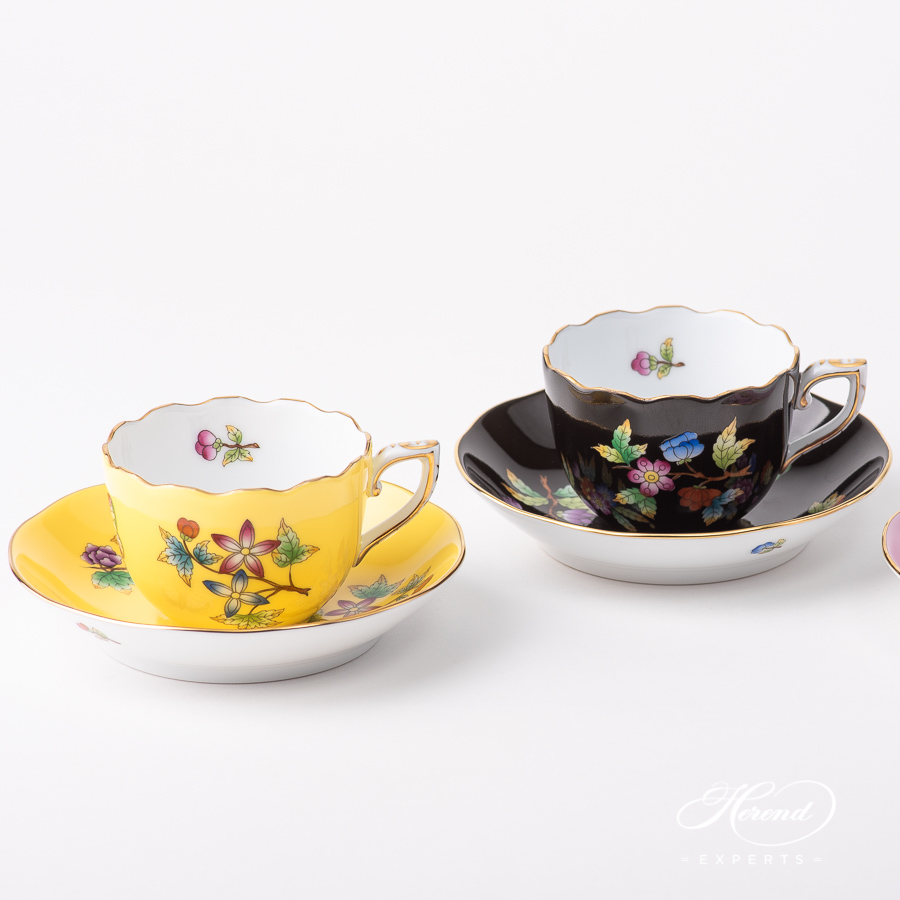Coffee Cup with Saucer 20711-0-00 VE-FJ and VE-FN Queen Victoria on a Yellow and Black background pattern. Classic design. Herend porcelain