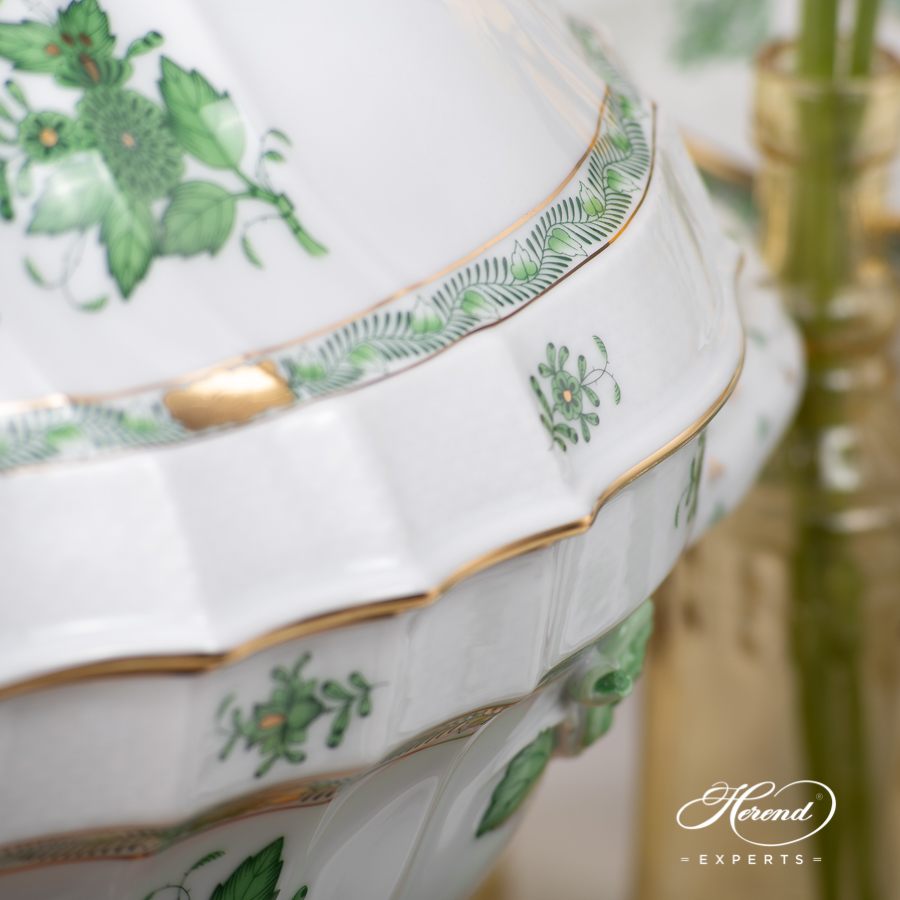 Dinner Set for Six People - Herend Chinese Bouquet / Apponyi Green - AV pattern. Herend fine china
