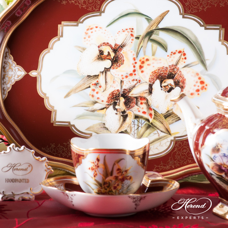 Tea Set for 2 People - Herend Orchid Flowerspattern. Special design. Herend fine china