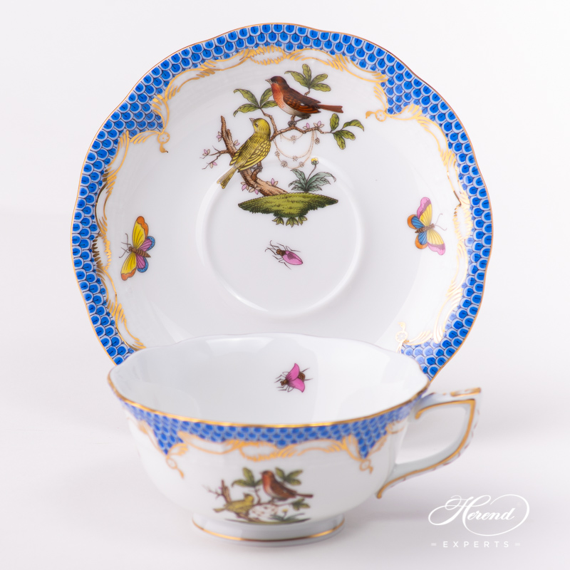 Tea Cup with Saucer734-0-00 RO-ETB Rothschild Bird Blue Fish Scale pattern. Classic design. Herend fine china